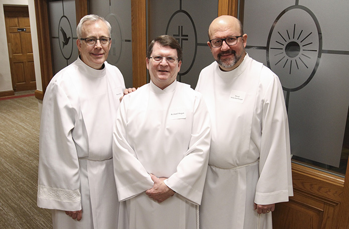Rarely are there three permanent diaconate candidates from the same parish in a given year, but in 2018 (l-r) Peter Ranft, Richard Hogan and David Schreckenberger, who are from St. Lawrence Church, Lawrenceville, were ordained together. Photo By Michael Alexander