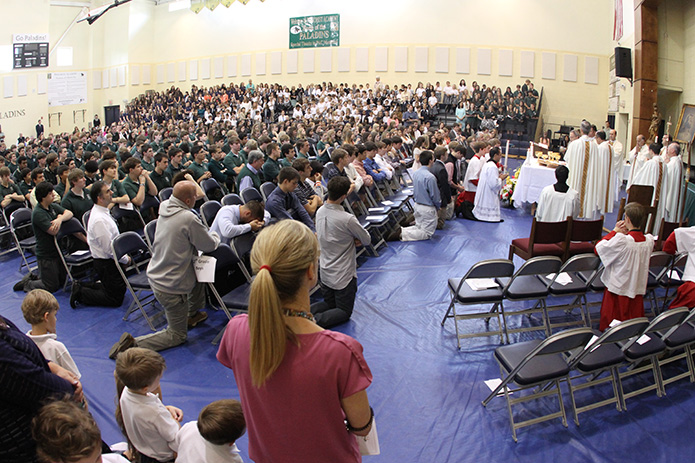 Some 1,100 people gathered in the Pinecrest Academy gymnasium for the school's 20th anniversary Mass on May 2. Photo By Michael Alexander