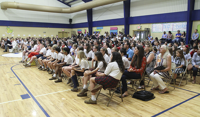 Parents, teachers, librarians and over 300 students from 16 different archdiocesan and independent Catholic schools turned out for the 16th annual Battle of the Books at St. Catherine of Siena School, Kennesaw, May 10. Photo By Michael Alexander
