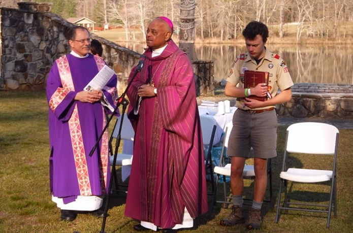 Archbishop Gregory celebrated Mass with the scouts on March 24, 2019 at the Bert Adams Scout Reservation in Covington.