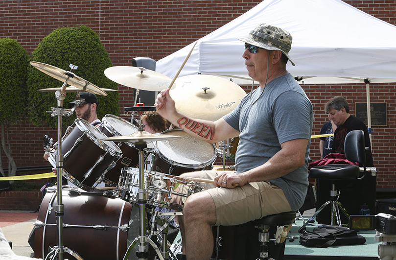 Theology teacher and drummer Dennis Ruggiero is one of the longtime members of the Teacher Jam band that has performed annually since 2001.