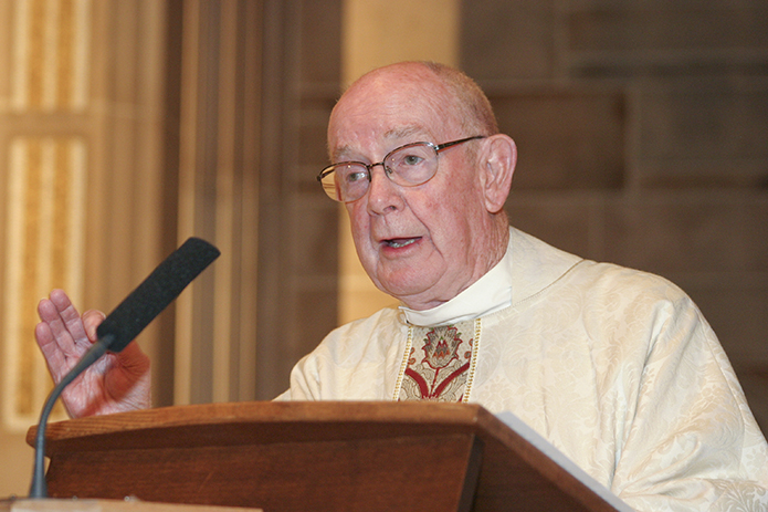 In his role as vicar general, Msgr. R. Donald Kiernan gives the homily during the Jan. 10, 2005 farewell Mass for Archbishop John F. Donoghue. Photo By Michael Alexander