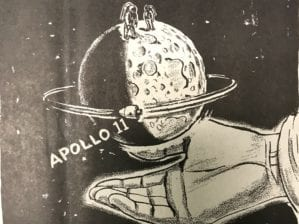 A newspaper cartoon image of astronauts of Apollo 11 on the moon. The moon is held in the hand of God.